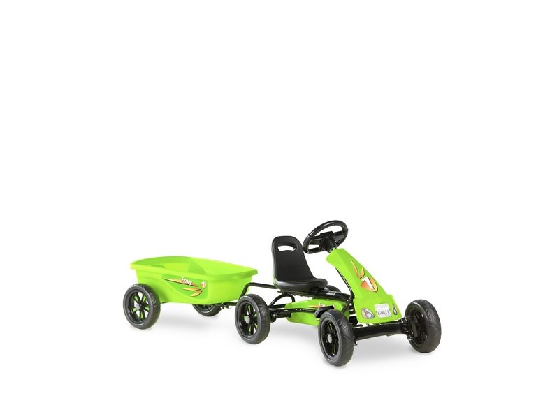 EXIT Foxy Green Pedal Go-kart With Trailer – Green
