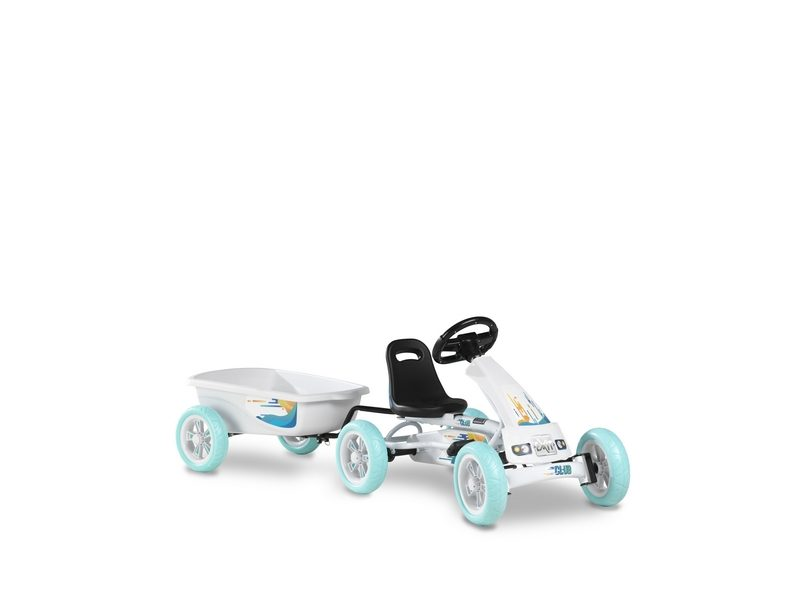 EXIT Foxy Club Pedal Go-kart With Trailer – White