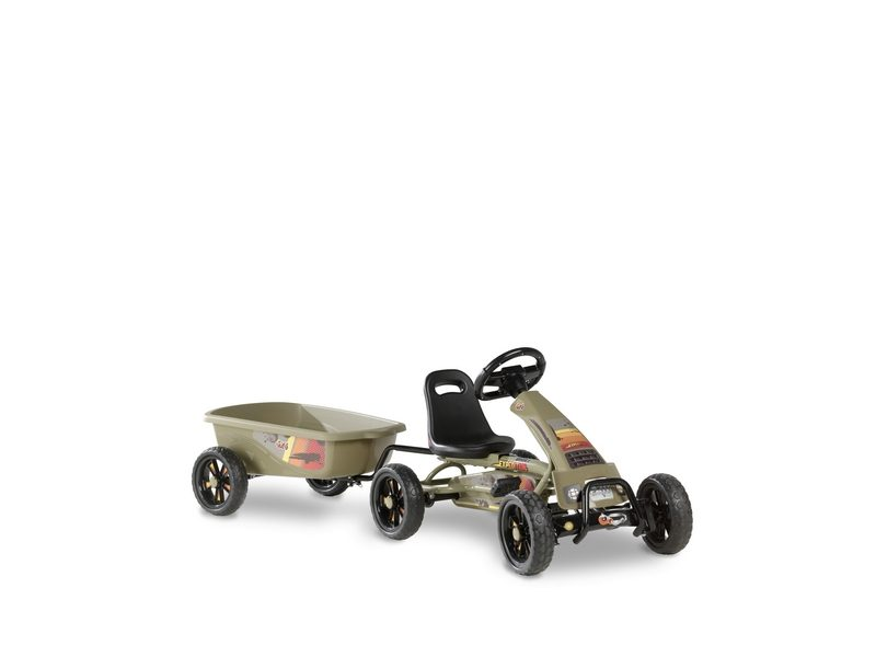 EXIT Foxy Expedition Pedal Go-kart With Trailer – Dark Green