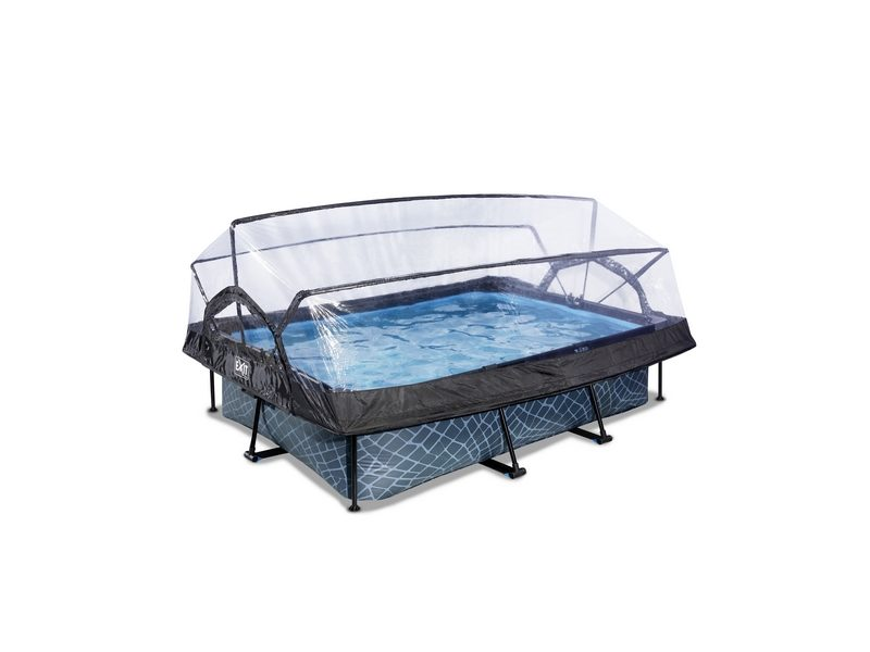 EXIT Stone Pool 220x150x65cm With Dome And Filter Pump