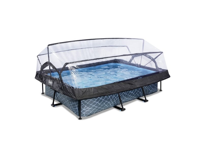 EXIT Stone Pool 300x200x65cm With Dome And Filter Pump