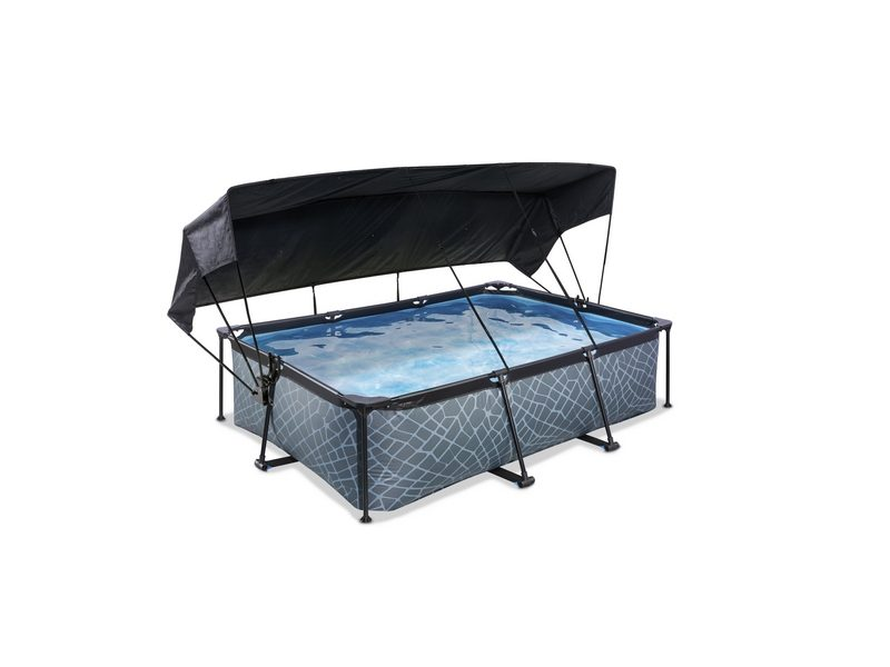 EXIT Stone Pool 220x150x65cm With Canopy And Filter Pump