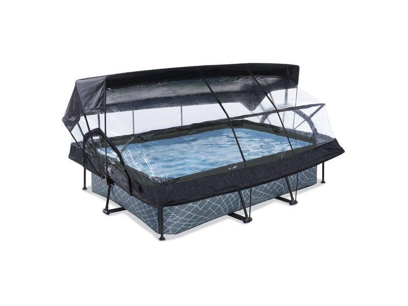 EXIT Stone Pool 300x200x65cm With Dome, Canopy And Filter Pump
