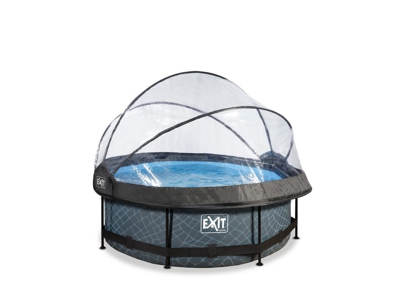 EXIT Stone Pool ø244x76cm With Dome And Filter Pump