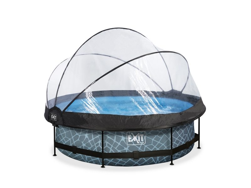 EXIT Stone Pool ø300x76cm With Dome And Filter Pump