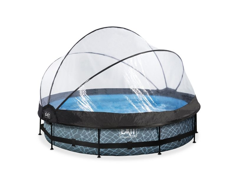 EXIT Stone Pool ø360x76cm With Dome And Filter Pump