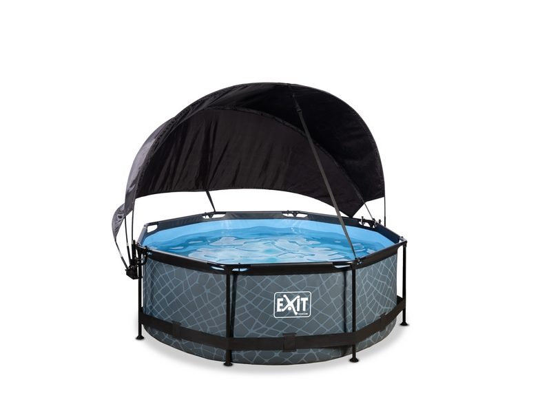 EXIT Stone Pool ø244x76cm With Canopy And Filter Pump