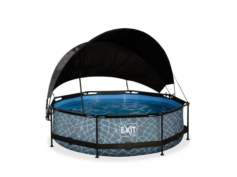 EXIT Stone Pool ø300x76cm With Canopy And Filter Pump