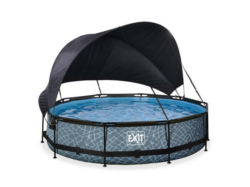 EXIT Stone Pool ø360x76cm With Canopy And Filter Pump