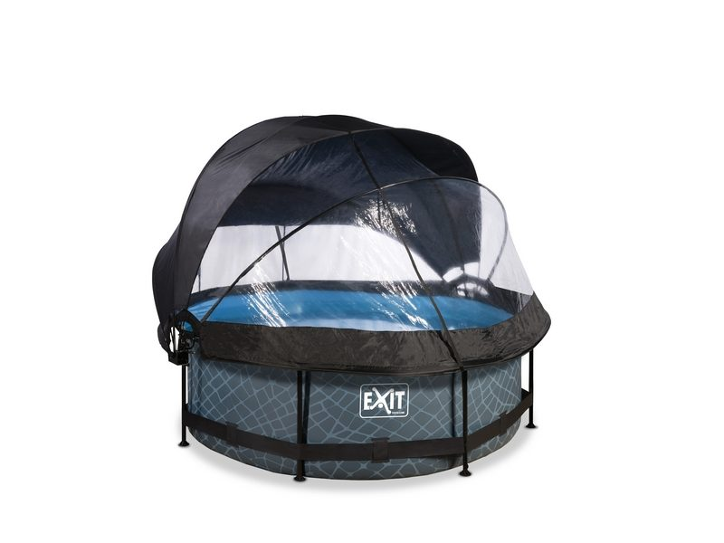 EXIT Stone Pool ø244x76cm With Dome, Canopy And Filter Pump