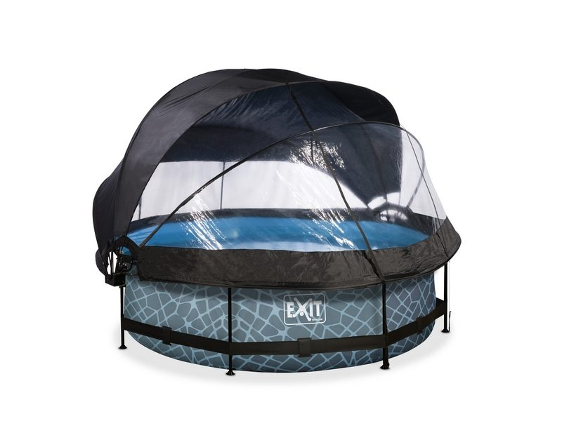 EXIT Stone Pool ø300x76cm With Dome, Canopy And Filter Pump