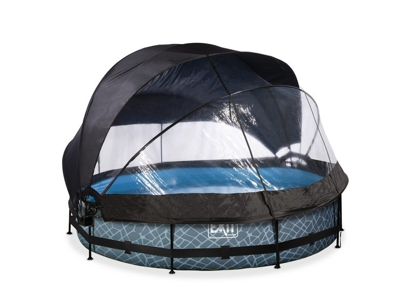 EXIT Stone Pool ø360x76cm With Dome, Canopy And Filter Pump