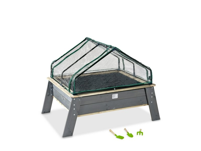 EXIT Aksent Planter Table XL With Greenhouse And Gardening Tools